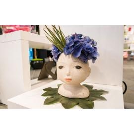 Vaso Testa occhi aperti (con fiori)