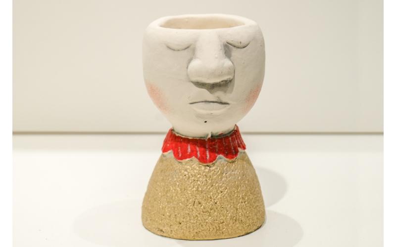 Vaso oro con colletto rosso e Rose e Tulipani (vuoto)