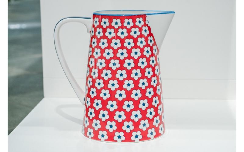 Brocca cotton bud rossa con fiori blu