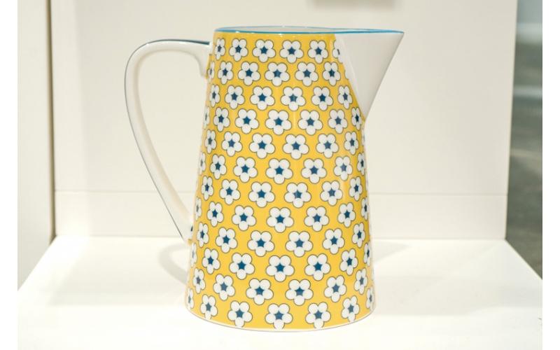 Brocca cotton bud gialla con fiori blu