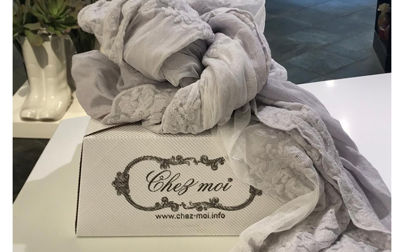 Pashmina 100% lino Chez moi colore Chiara grigio anticato
