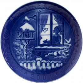 Piatto di Natale bimbo con plaquette 2001 in porcellana Royal Copenhagen