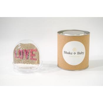 Boule trasparente con liquido e disegno LOVE