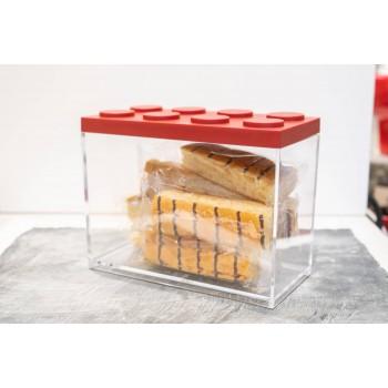 Contenitore Omada Brick Store in stile Lego colore Red (rosso) capacità 2 L