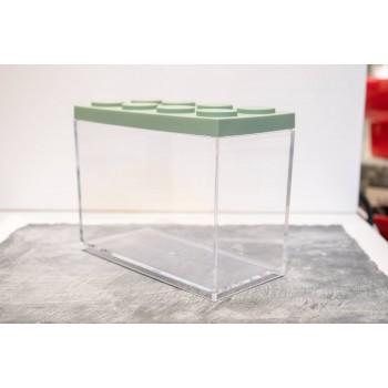 Contenitore Omada Brick Store in stile Lego colore Sage Green (verde salvia) capacità 2 L