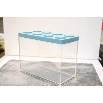 Contenitore Omada Brick Store in stile Lego colore Sky dust (azzurro polvere) capacità 2 L