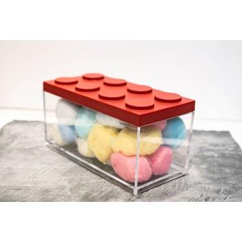 Contenitore Omada Brick Store in stile Lego colore Red (rosso) capacità 1,5 L