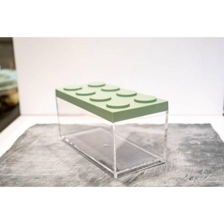 Contenitore Omada Brick Store in stile Lego colore Sage Green (verde salvia) capacità 1,5 L