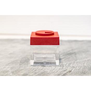 Contenitore Omada Brick Store in stile Lego colore Red (rosso) capacità 10 cl