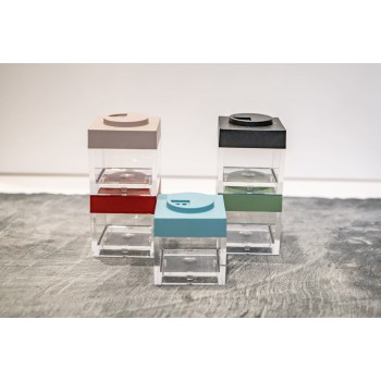 Contenitore Omada Brick Store in stile Lego colore Sky dust (azzurro polvere) capacità 10 cl