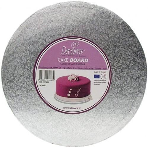 Sotto torta in cartone color argento Ø 26cm