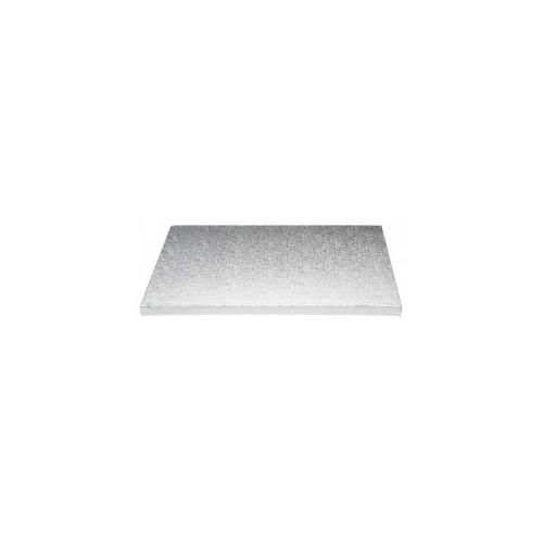 Sotto torta rettangolare in cartone color argento 30x40cm
