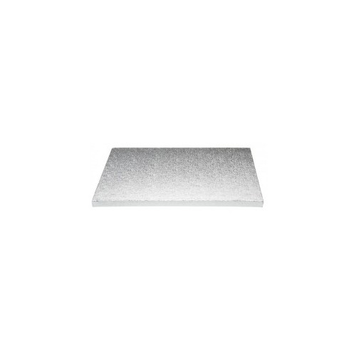 Sotto torta rettangolare in cartone color argento 40x60cm
