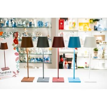 Lampada da tavolo Led di Zafferano collezione Poldina colore Marrone