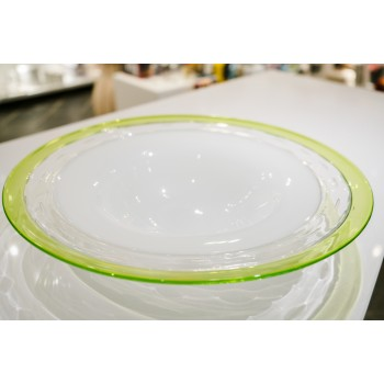 Centrotavola bordo verde ø 44 cm, h 8 cm EDG