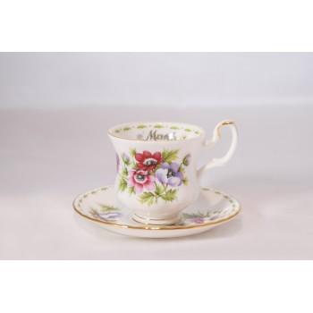 Tazzina da caffè Royal Albert Flower con piattino Marzo
