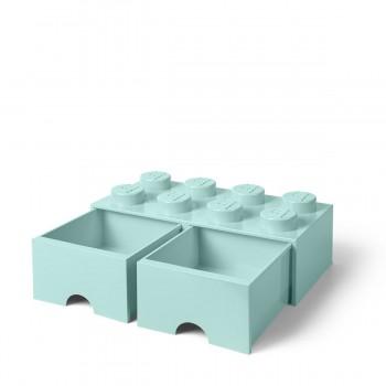 Cassettiera mattoncino Lego 2 cassetti colore azzurro