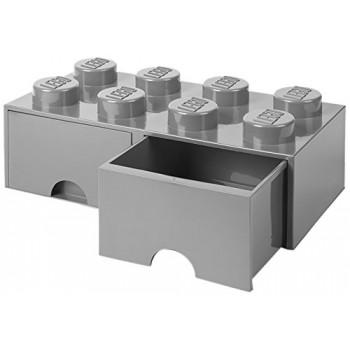 Cassettiera mattoncino Lego 2 cassetti colore grigio