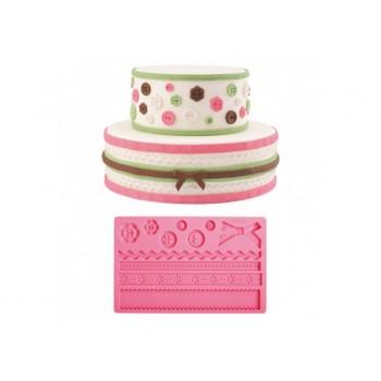 Stampo rosa per fondente trama bottoni