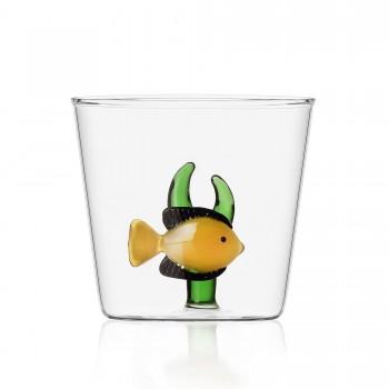Bicchiere Ichendorf Milano pesce giallo con alga collezione Marine Garden
