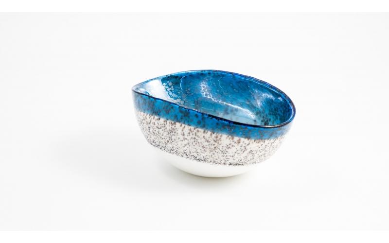 Cartoccetto mignon avorio e blu cielo Zaffiro Yalos Murano