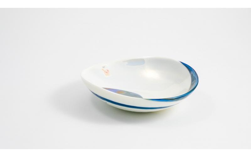 Pieghetta mignon blu e madreperla Pavone Yalos Murano