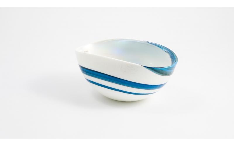 Cartoccetto mignon blu e madreperla Pavone Yalos Murano